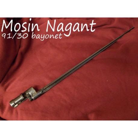 """MOSIN NAGANT M91 / 30 BAYONET: 20"""" SPIKE, FLUTED, BLUED STEEL w/ LATCH"""