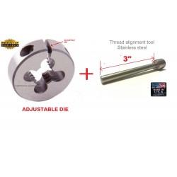 "Lighthouse Tools Mosin Nagant Muzzle threading die M15X1 RH and 3"" Thread alignment tool"