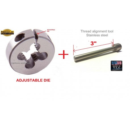 """Lighthouse Quality Tools - Mosin Nagant Muzzle threading die M15X1 RH and 3"""" Thread alignment tool"""