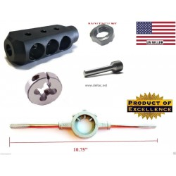 Mosin Nagant Muzzle Brake + M15X1 RH Die + Thread alignment Tool + STOCK HANDLE